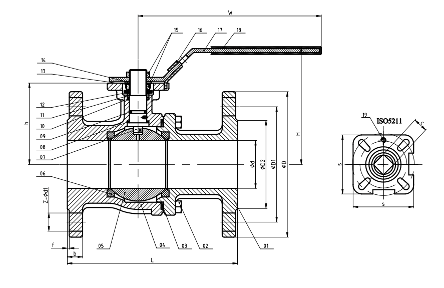 Stainless Steel ANSI150 flanged fire safe ball valve dimensions